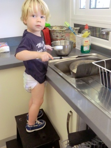 """Helping"" mommy with the dishes"